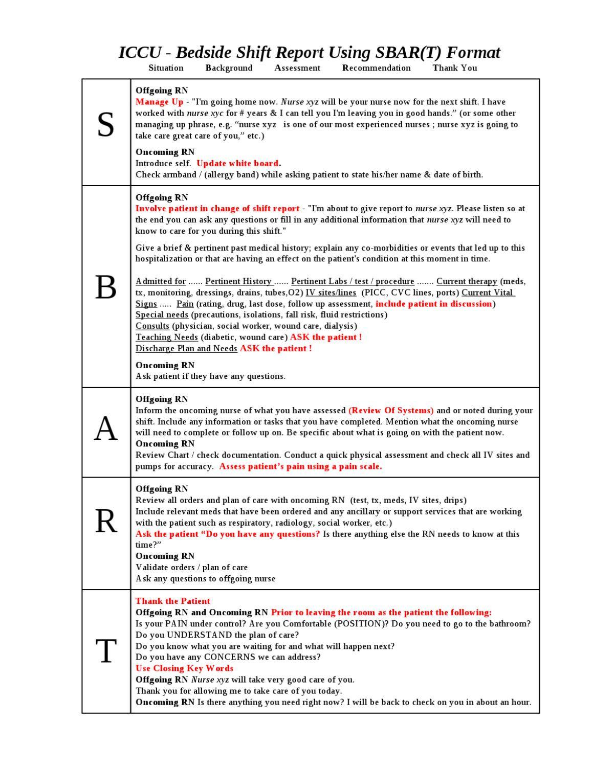 CCU Bedside Shift Report Template by Ian Saludares issuu – Shift Report Template