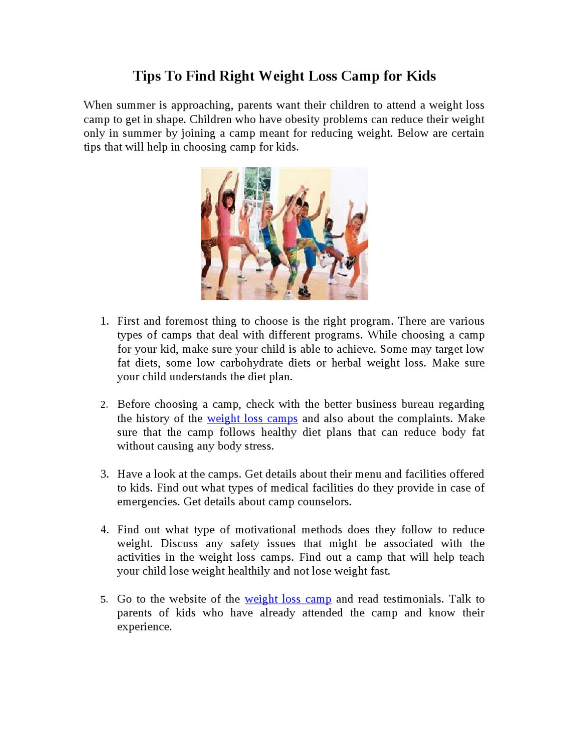 Tips To Find Right Weight Loss Camp For Kids By Rachel Mathew Issuu