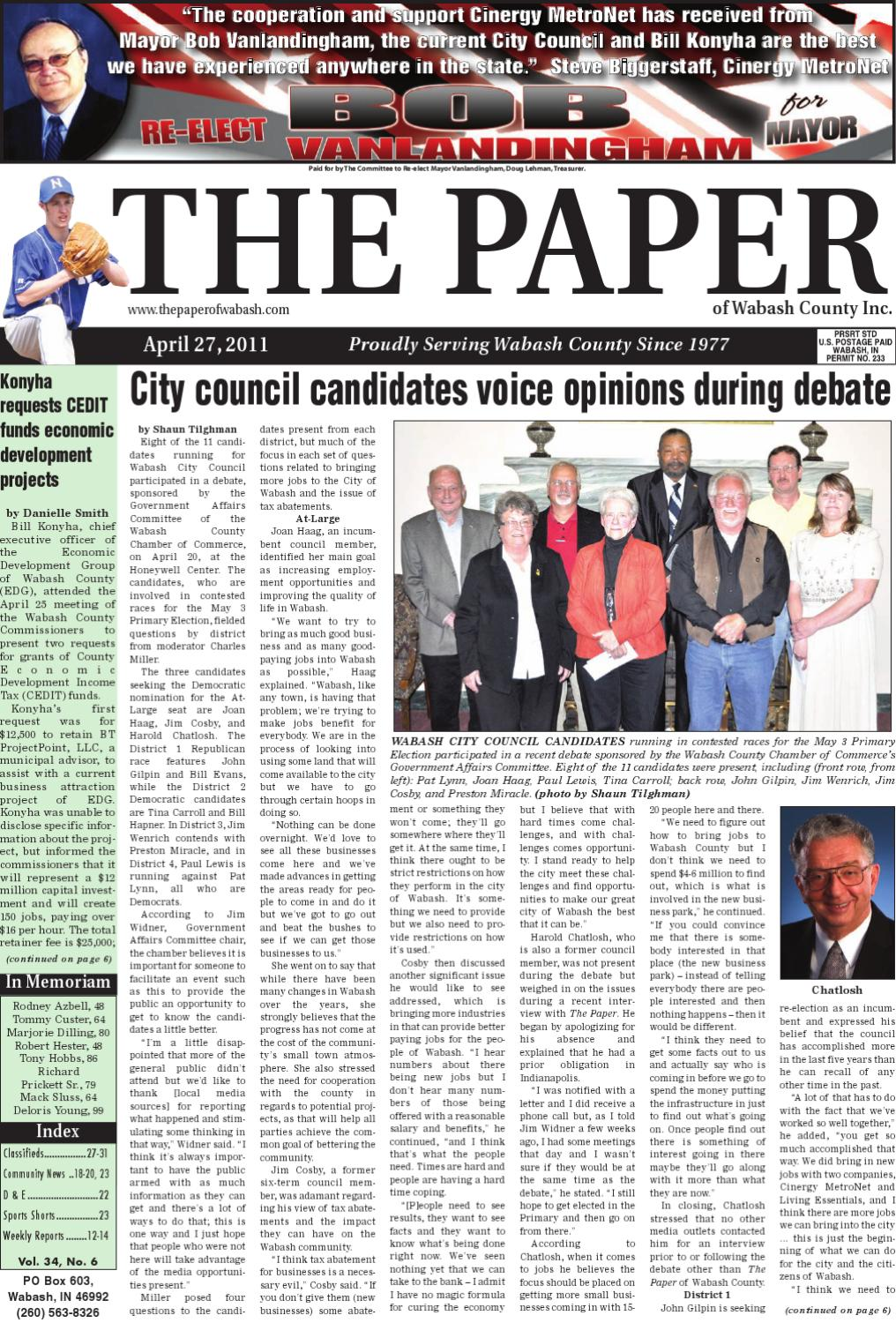 April 27, 2011 by The Paper of Wabash County - issuu
