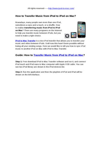 How to Transfer Music from iPod to iPod on Mac by snow abcd - issuu