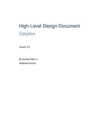 High Level Game Design Document Calydon By Richard Rabil Jr Issuu - Game technical design document