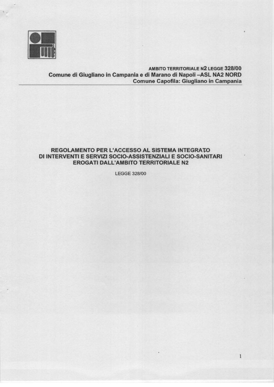 Regolamento accesso sistema integrato interventi servizi for Servizi socio assistenziali
