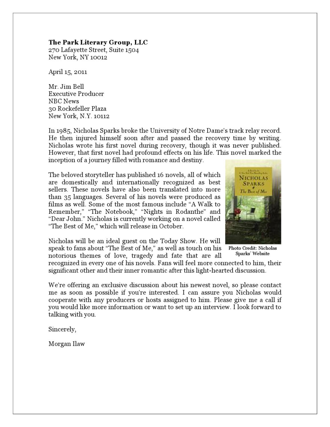 Nicholas Sparks' Pitch Letter by Morgan Ilaw - issuu