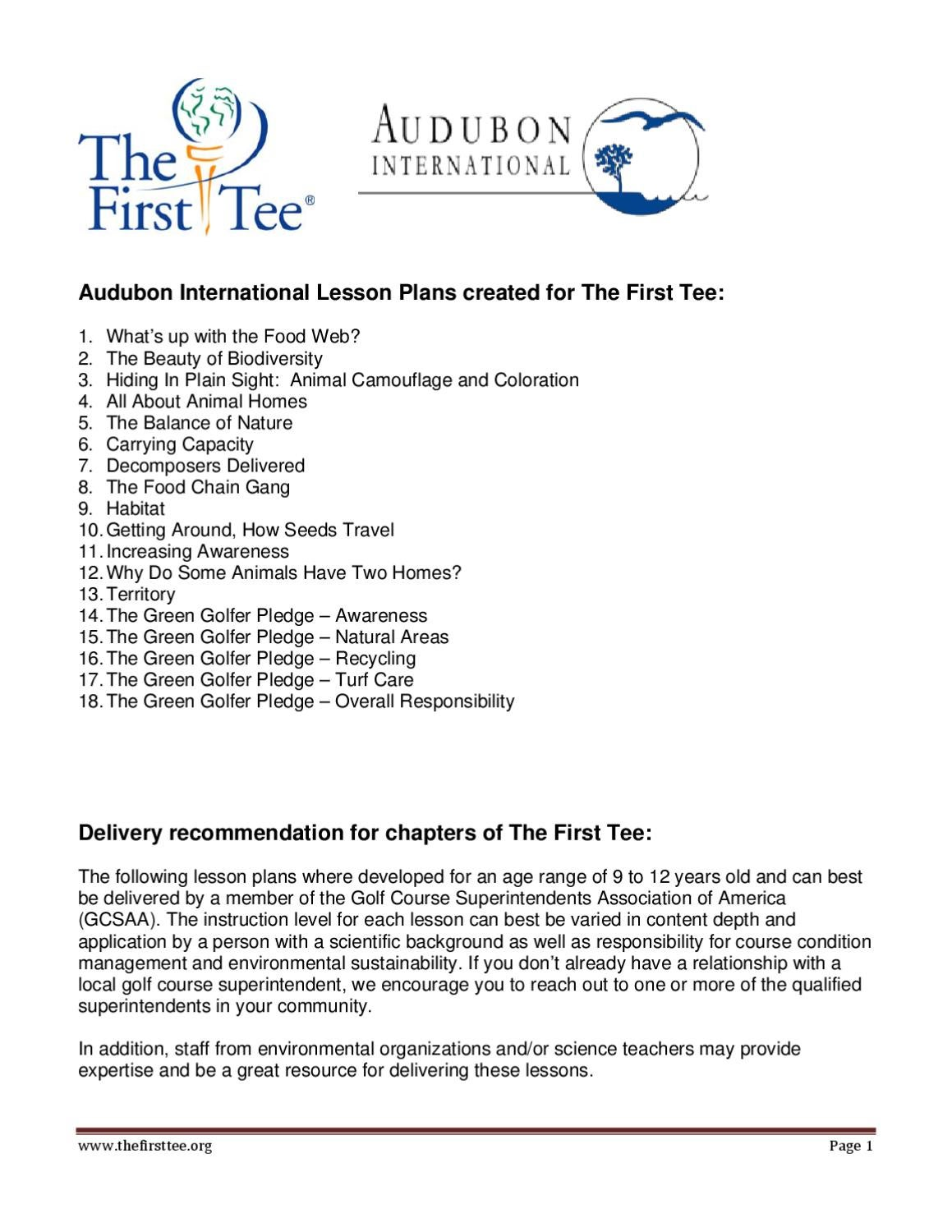 Audubon International Lesson Plan for The First Tee by The ...