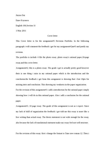 Jinzuo Dai Emre Koyuncu English 106Section 11 1 May 2011 Cover Letter This Is For The Assignment5 Revision Portfolio