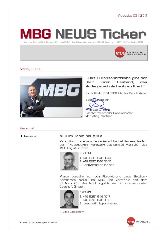 MBG News Ticker Ausgabe 03 2011 by MBG International Premium Brands ...