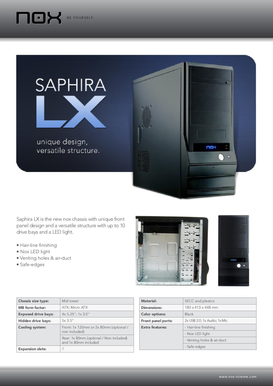 Caixa Mid Tower Nox Saphira LX - Manual Sonigate by sonigate - issuu