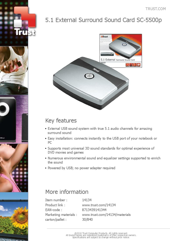 Placa de Som 5.1 Trust SC-5500P - Manual Sonigate by sonigate - issuu