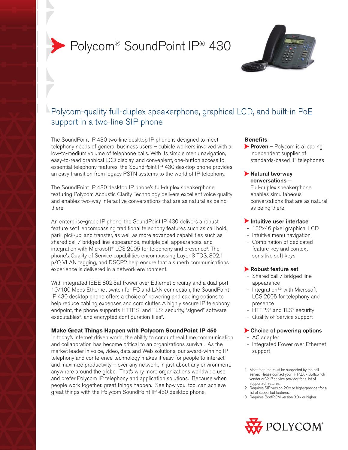 Telefone VOIP Polycom SoundPoint IP 430 - Manual Sonigate by
