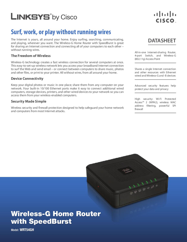 Router Wireless-G 4 Portas Linksys WRT54GH-EU - Manual Sonigate by ...