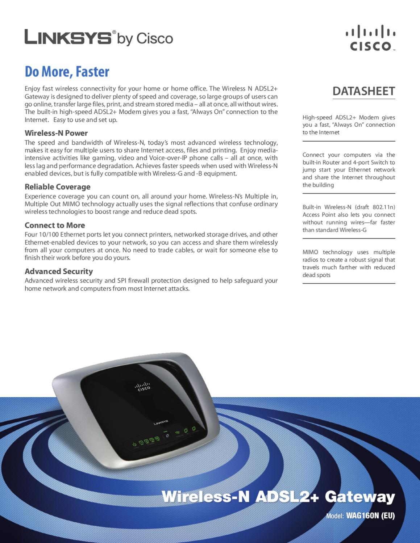 Router com Modem Wireless-N Linksys WAG160N-EZ - Manual Sonigate ...