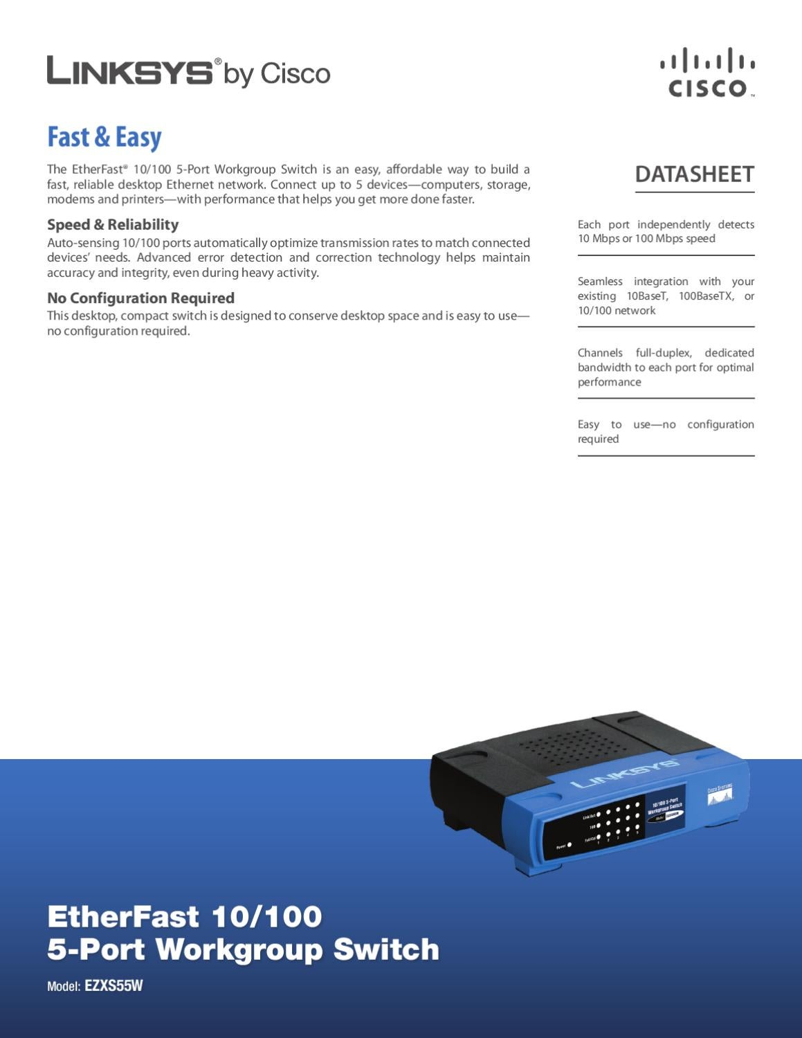 Switch 5 Portas 10/100Mbps Linksys EZXS55W - Manual Sonigate by sonigate -  issuu
