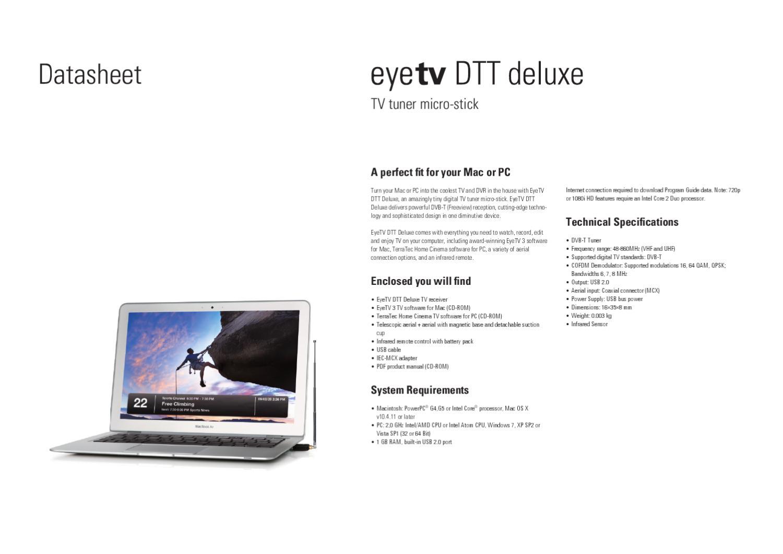 Placa de TV USB EL Gato Eye TV TDT Deluxe MAC e PC - Manual