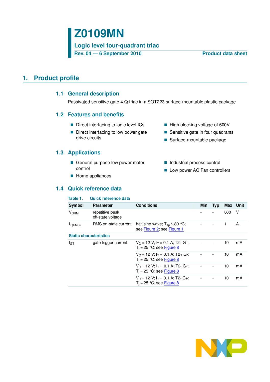 Triac Z0109 Sot223 Manual Sonigate By Issuu Characteristics