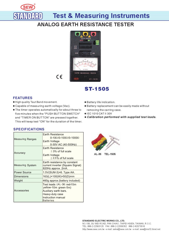 Medidor de Terra Analogico ST1505 - Manual Sonigate by sonigate ...