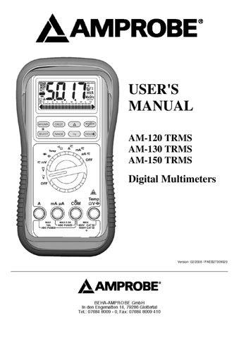 Multimetro digital TRMS, 5.000 Registos e Ligacao a PC - Manual ...