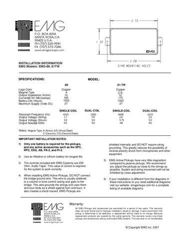 installation information emg models: emg-89, 81tw