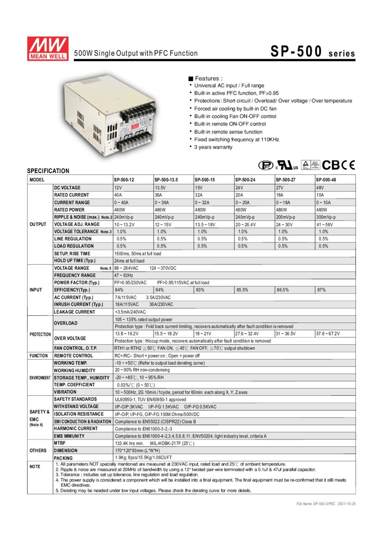 Fonte Input 88-264Vac Output 12Vdc 40 Amp 480W - Manual Sonigate ...