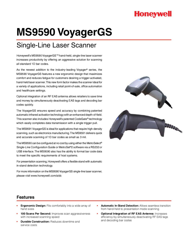 Scanner Laser Metrologic Voyager MS9590 Usb - Manual Sonigate by ...