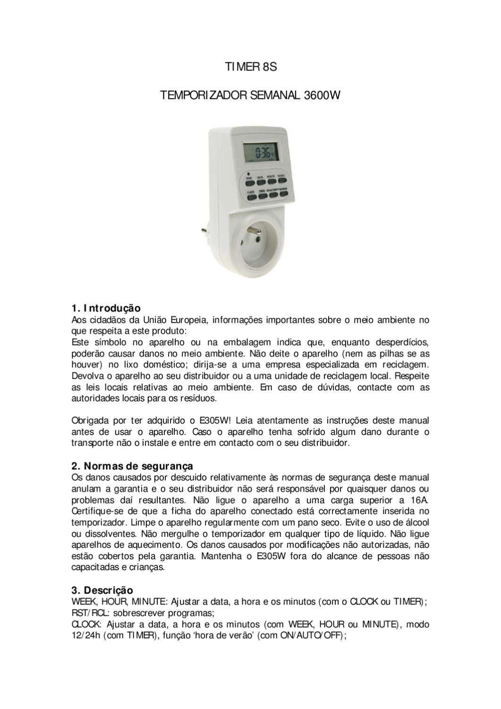 Relogio Programavel Digital Semanal de Tomada - Manual Sonigate by ...
