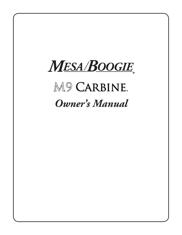 Cabeca Amplificada de Baixo MESA BOOGIE M9 Carbine - Manual ...