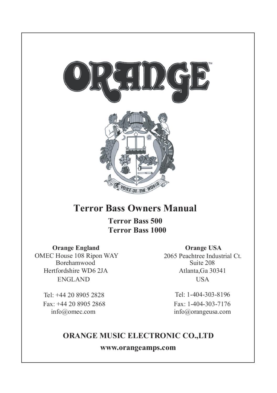 Cabeca Amplificada de Baixo ORANGE Terror Bass 500 - Manual ...