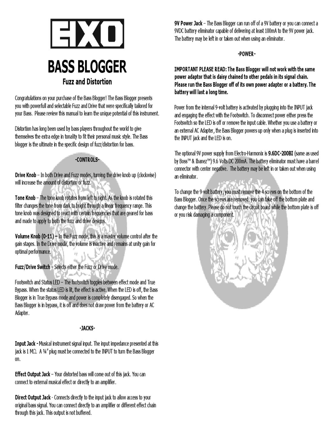 Pedal ELECTRO HARMONIX Bass Blogger - Manual Sonigate by sonigate ...