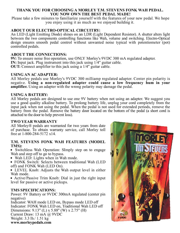 Pedal de Wah-Wah MORLEY Tim Stevens Fonk Wah - Manual Sonigate by ...