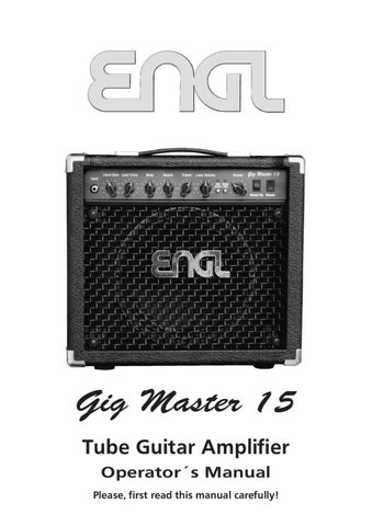 Combo a Valvulas ENGL Gigmaster 15 Combo E310 - Manual Sonigate by ...