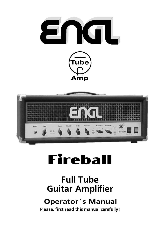 Cabeca a Valvulas ENGL Fireball E625 - Manual Sonigate by sonigate ...