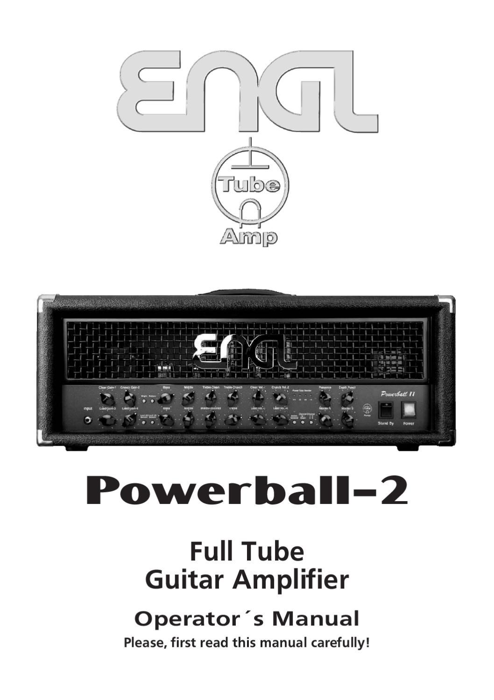 Cabeca a Valvulas ENGL Powerball 2 E645/2 - Manual Sonigate by ...