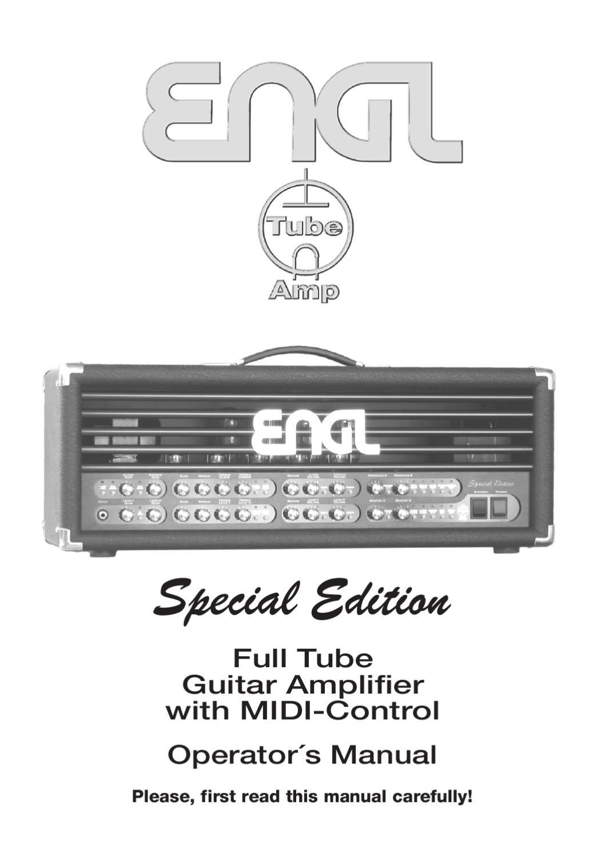 Cabeca a Valvulas ENGL Special Edition E670 EL34 - Manual Sonigate ...