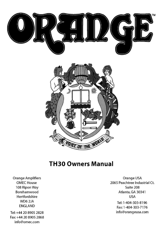 Cabeca a Valvulas ORANGE TH30 Head - Manual Sonigate by sonigate ...