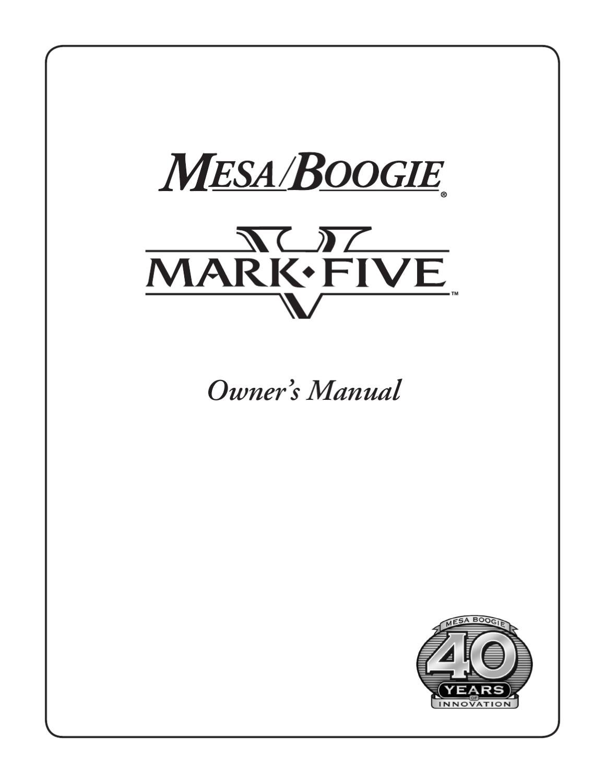 Cabeca a Valvulas MESA BOOGIE Mark V - Manual Sonigate by sonigate ...