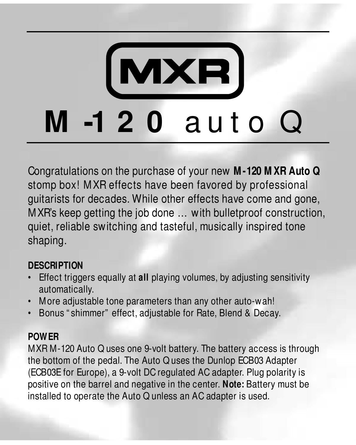 Pedal MXR M120 Auto Q - Manual Sonigate by sonigate - issuu