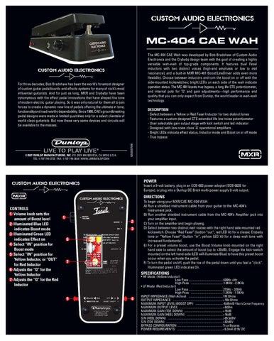 Pedal de Wha-Wha DUNLOP CAE MC404 - Manual Sonigate by sonigate ...