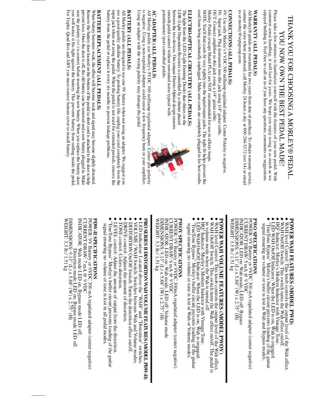 Pedal de Wha-Wha MORLEY Power Wah PWO - Manual Sonigate by ...