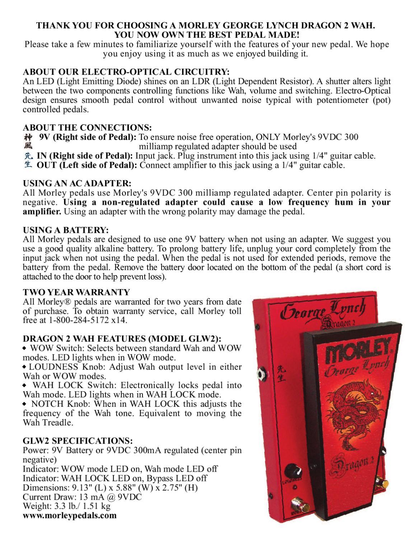 Pedal De Wha Morley George Lynch Dragon Ii Glw2 Manual 1 4 Input Jack Wiring Sonigate By Issuu