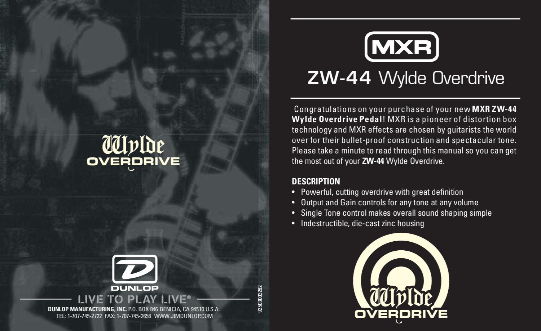 Pedal MXR ZW44 Zakk Wylde Overdrive - Manual Sonigate by sonigate ...
