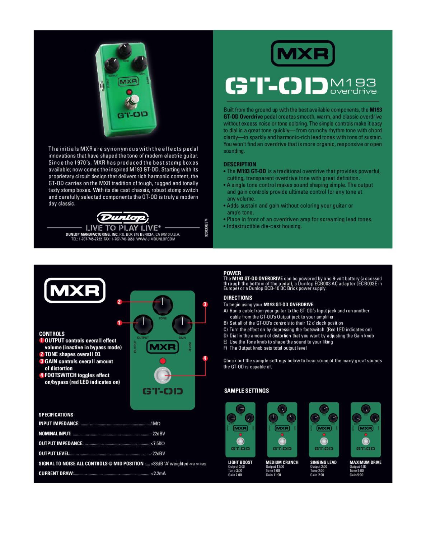Pedal MXR M193 GT-OD Overdrive - Manual Sonigate by sonigate - issuu
