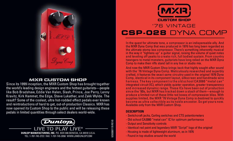 Pedal MXR CSP028 Vintage 1976 Dyna Comp - Manual Sonigate by ...