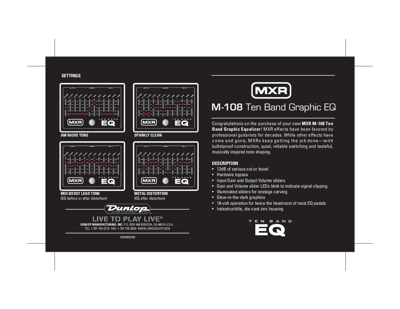 Pedal MXR M108 10-Band Equalizer - Manual Sonigate by sonigate - issuu