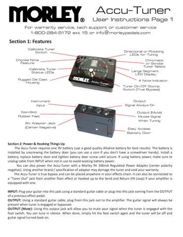 Pedal Afinador MORLEY Accu-Tuner AC-1 - Manual Sonigate by ...