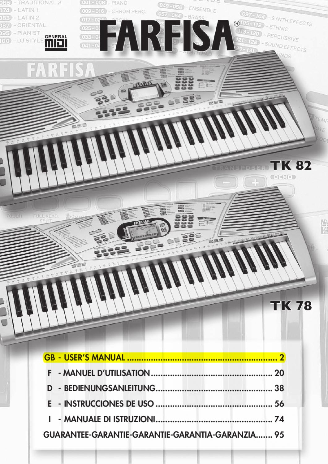Teclado Digital FARFISA TK82 - Manual Sonigate by sonigate - issuu