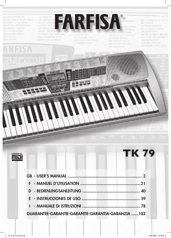 Teclado Digital FARFISA TK79 - Manual Sonigate by sonigate - issuu