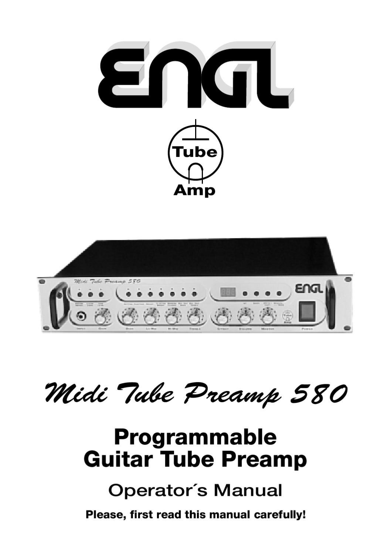 Pre-Amplificador ENGL Midi Tube Preamp E580 - Manual Sonigate by ...