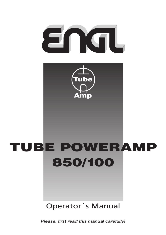 Manual Amplificador de Potencia ENGL Tube Poweramp E850/100 ...