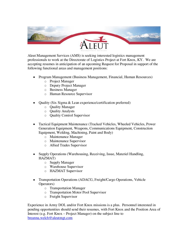Aleut-Logistics Positions, Ft  Knox, KY by Acap Fort Drum