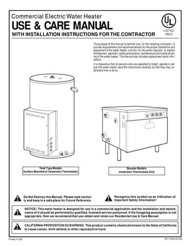 rheem electric water heater installation manual