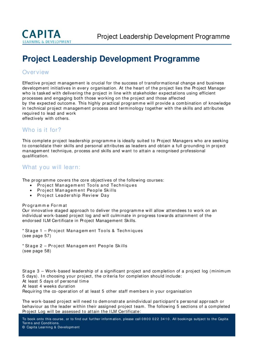 Project Leadership Development Programme By Capita Learning